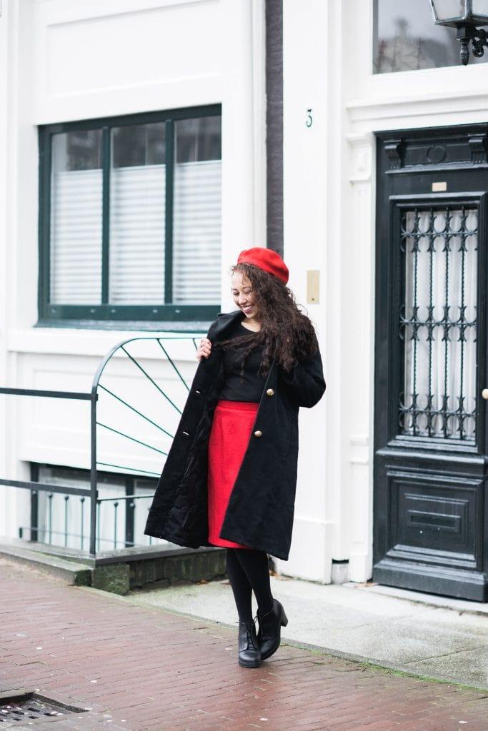 Fair outfit 10 - Fair outfit | Vintage jas, vintage rok & rode details